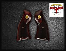 RUGER REDHAWK OXBLOOD GRIPS ~ WITH CHECKERING + Gold Liberty Eagle Medallions ^