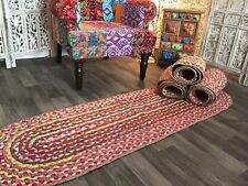 Oval Jute Pink Multi Colour Fabric Braided Rug 55 x 180 cm PICK YOUR OWN