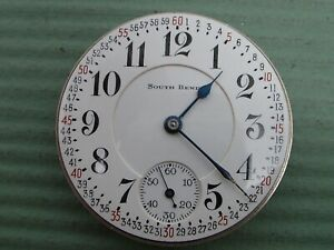 SOUTH BEND 16 SIZE 19 JEWEL OPEN FACE MONTGOMERY DIAL MODEL 219 MOVEMENT