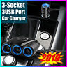 3Way 12/24V Car Cigarette Lighter,Socket Splitter Dual USB Charger&Power Adapter