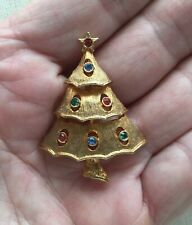 """Vintage Christmas Tree Pin Jj Abstract Crystal Tiers Gold-Tone 1.75"""""""
