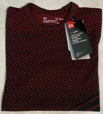 Under Armour Boys / Girls Short Sleeve Red and Black T-Shirt Heat Gear Size YLG