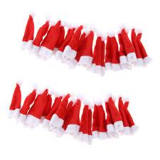40Pcs Red Small Lollipop Santa Claus Hats Cap Christmas Party Decoration