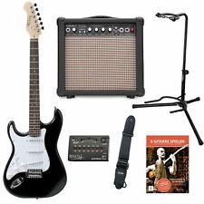 Guitare Electrique Set Gaucher Amplificateur 15W Sangle Support Accordeur Noir