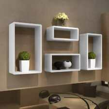 Set of 4 Wall Cuboid Floating Shelves Book DVD Plant Storage Display Unit White