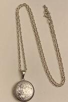 "Vintage Etched Sterling Silver Latch Locket Pendant necklace 18"" both marked 925"