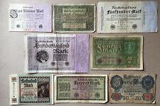 Sammlungsauflösung Posten 8 alte Geldscheine Deutsches Reich -Inflation.... (16)