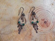 Paddle Fringe dangle Earrings Taxco Mexico Sterling Silver 925 & Teal Green Bead