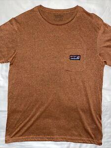 patagonia MEDIUM RUST t shirt POCKET Short Sleeves Patch Logo Orange