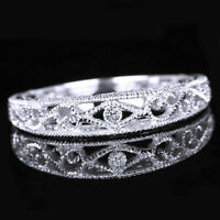 Vintage Band Solid 10K White Gold Filigree Engrave Antique Ring