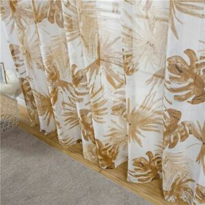 Embroidery Woven Sheer Curtains With Leaves Design Transparent Voile Curtain New