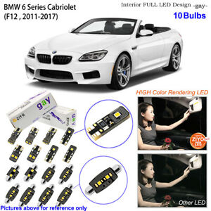 10 Bulb Deluxe LED Interior Light Kit Xenon White For F12 BMW 6 Series Cabriolet