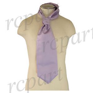 New Vesuvio Napoli Men's Polyester Ascot Cravat Necktie Wedding Solid Lavender