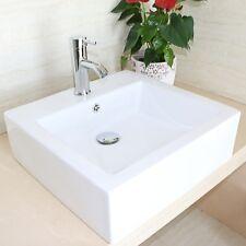 Bathroom Square White Bowl Porcelain Ceramic Vessel Vanity Sink Faucet Art Basin