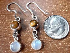 Tiger Eye Rainbow Moonstone Earrings 925 Sterling Silver Dangle Drop Round 650f