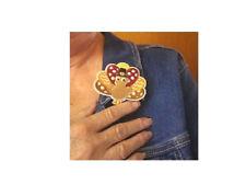 Thanksgiving Turkey Pin Brooch - Fall -  Embroidered - Seasonal Jewlery - B