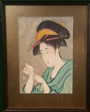Japanese Print- Girl with White Mouse- possibly after Tamagawa Shucho