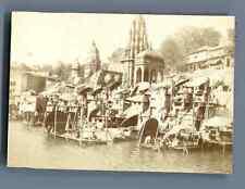 India, Benares, Les Ghats de Bénares  Vintage citrate print. Inde.  Tirage c