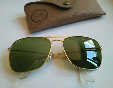 Ray Ban Vintage B&L  CARAVAN Aviator Gold. Green RB3 58-16. USA. Con Funda