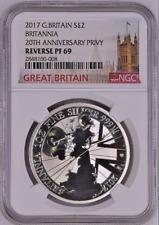 2017 Great Britain 1 oz REVERSE PROOF Silver Britannia 2£ | RP 69 | COA # 0050