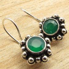 ETHNIC Earrings !! 925 Silver Plated Cut GREEN ONYX Stone FIX WIRE Ear Jewelry