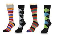 Fashion Stripe & Argyle Men Crew Dress Trouser Socks 4-Pack  Size 10-13