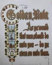 vintage 50s Scripture Print,The Golden Rule Matthew 7 :12 Kate Krause Ball