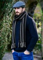 Mucros Merino Wool Dingle Scarf Black Stripe ds15 - Made in Ireland