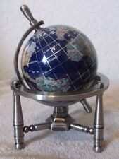 "6"" Blue World Globe GEMSTONE Inlay Small Desk Table Top Silver 3 Leg Stand RARE"