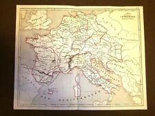 Carta geografica o mappa L'Impero di Carlo Magno Italia Incisione del 1850