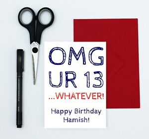 teenage boy birthday card - 13th birthday card - any name added - text speak