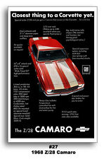 13x19 1968 Chevrolet Camaro Z/28 302 Ad Poster Closest thing to Corvette yet SS