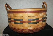 Longaberger 1998 Shades Autumn Basket of Plenty with insert and Ceramic Tie-on
