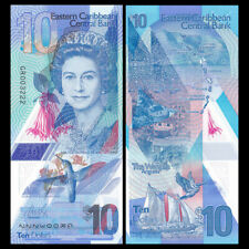 East Caribbean 10 Dollars, 2019, P-New, New Design, Polymer, QE II,UNC