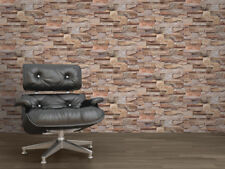 3D Natural Brown Brick Stone Spit Face Tile Vinyl Washable Wallpaper Muriva