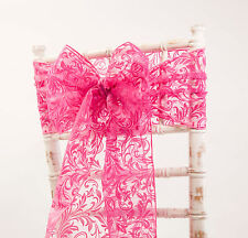 FLOCK ORGANZA SASHES BOWS AND TABLE RUNNERS 9 COLOURS WEDDING CHAIRS VENUE DECOR