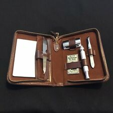 Vintage Gillette Safety Razor Shaving & Manicure Set In Brown Zip Leather Case