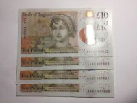 NEW £10 Polymer Ten Pound Note starting AA(SOLD SEPARATELY)