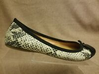 J.Crew Women's Shoes Black Beige Snake Print Flats Slip On Bow Loafers Size 7.5