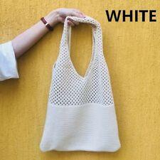 WHITE Korea Women Knitting Bag Hollow out  Large Capacity Shoulder Bag Casual