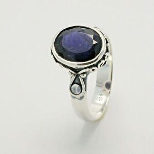 Size 9 - Natural & Blazing Blue ILOLITE Ring Cordierite 925 STERLING SILVER #5