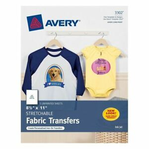 Avery 8.5 x 11 Stretchable Fabric Transfers for Injet Printers, 5 Sheets (3302)