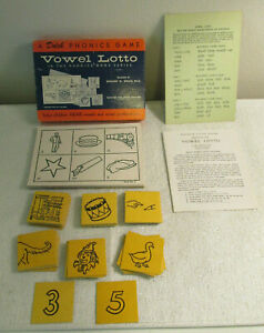1956 PHONICS GAME DOLCH TEACHING VOWEL SOUNDS LOTTO HOME & ELEMENTARY SCHOOL