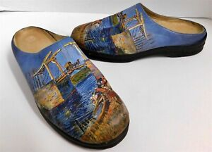 Icon Handpainted Western Theme Leather Mule Clog USA 9.5 M