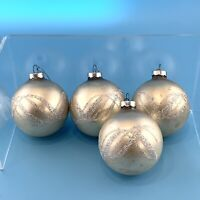 Vintage Silver Christmas Ornaments Set Of 4 Round With Silver Glitter