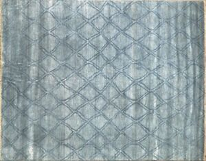 Silk Rug Hand Knotted Diamond Pattern, Moroccan Design &Blue Color  8x10 - 7027