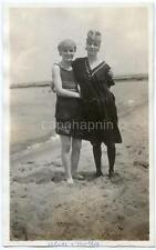 Pretty Swimsuit Girls Alice & Mollie Hug on Beach Vtg 1910s Photo Bathing Beauty