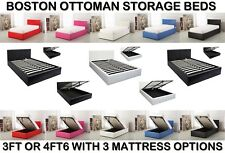Boston White Ivory 4ft6 Deep Double Ottoman Leather Storage Gas Lift Bed Strong