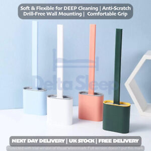 Silicone Toilet Brush with Toilet Brush Holder Wall-Mounted Cleaning Brush Set