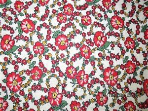 VTG 34X45 TINY PINK FLOWERS & VINES COTTON FEED SACK FABRIC QUILT CRAFT PROJECT
